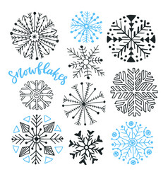 Snowflakes hand drawn collection winter isolated vector