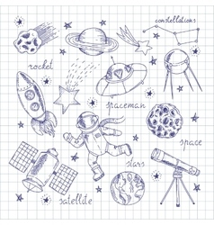 Space Explorers Doodles Set vector