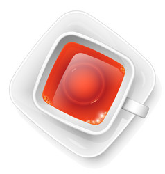 square cup with black tea on a saucer view from vector image