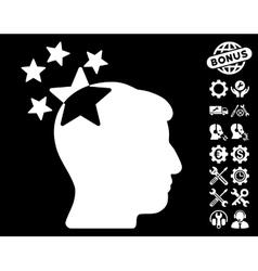 Stars Hit Head Icon with Tools Bonus vector image