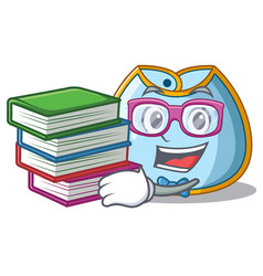 student with book baby bib isolated on the mascot vector image