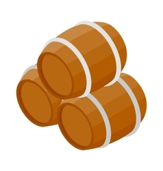 Three wooden barrels icon isometric 3d style vector image