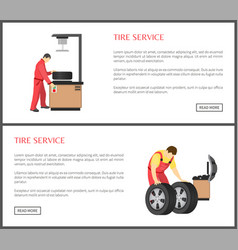 tire service and automobile workshop color card vector image