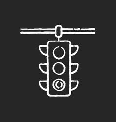 Traffic lights chalk white icon on black vector