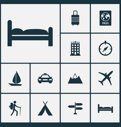 Traveling icons set collection of booth traveler vector