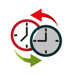 two clocks time zone change icon image vector image