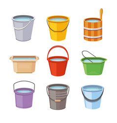 Water buckets set metal pail empty and full vector