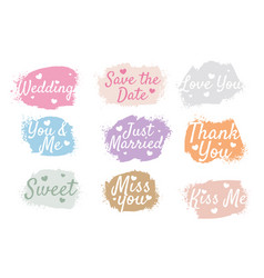 wedding anniversary watercolor tags set nine vector image
