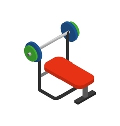 Weight bench with barbell icon isometric 3d style vector image