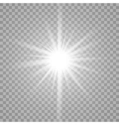 White glowing light burst on transparent vector image