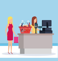 woman in supermarket sale point with shopping vector image