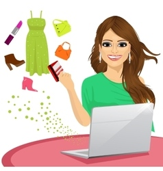 woman shopping online using a laptop vector image