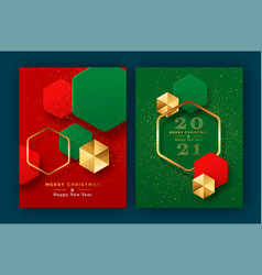 year 2021 gold 3d geometric card set vector image