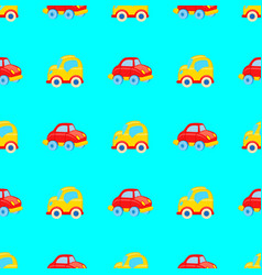 Yellow and red toy cars seamless pattern vector