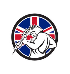 Zeus with thunderbolt union jack flag icon vector