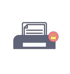 document lock paper print printer icon vector image