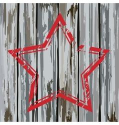 Grunge old wooden fence star frame vector image