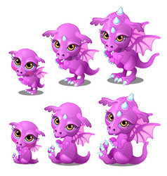 purple cartoon dragon of different ages vector image vector image