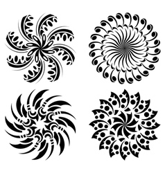 set of round black design elements vector image vector image
