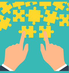 teamwork concept puzzle holding in hands vector image vector image