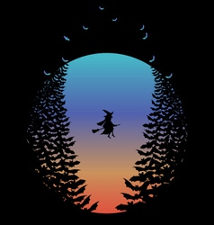 Halloween moon with witch and bats vector