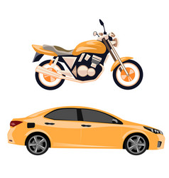 motorcycle and car isolated vector image vector image