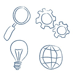 Sketch bussiness icons set vector image vector image