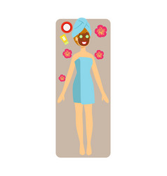 relaxed woman with chocolate face mask applied to vector image vector image