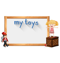 border template with girl and toy vector image