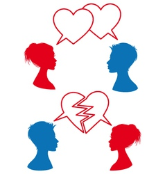 love and relationship speech bubbles vector image vector image