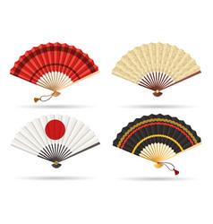 oriental japan fan set vector image