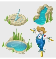 Scarecrow fountain pool and decorative elements vector