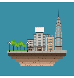 urban building street lamp post blue background vector image