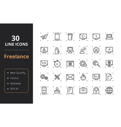 30 freelance line icons vector image