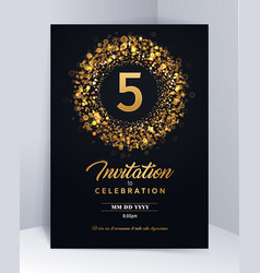 5 years anniversary invitation card template vector image