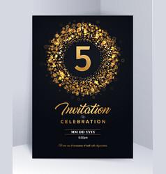 5 years anniversary invitation card template vector