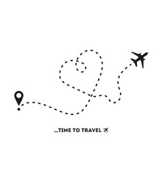 Airplane line path time to travel flat style vector