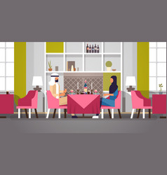 arabic couple sitting cafe table romantic dinner vector image