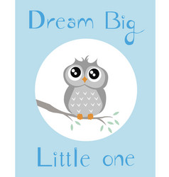 Baby owl with blue background vector
