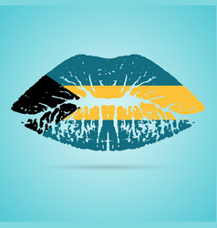 Bahamas flag lipstick on the lips isolated on a vector