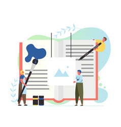 Book publishing process flat style design vector