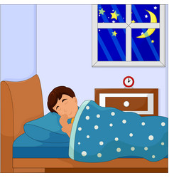 boy sleeping on his bed vector image