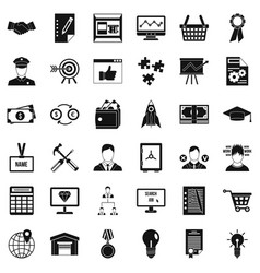 Business working icons set simple style vector