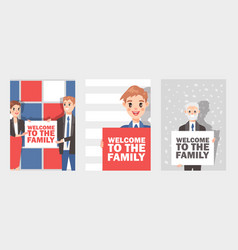 Businessmen and women holding sign or banner with vector