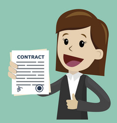 businesswoman holding a contract with signature vector image