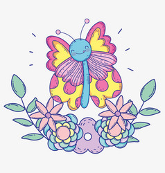 butterfly insect with flowers plants and branches vector image