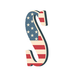 Capital 3d letter s with american flag texture vector