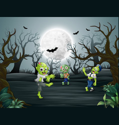 Celebrating halloween with zombie in forest vector