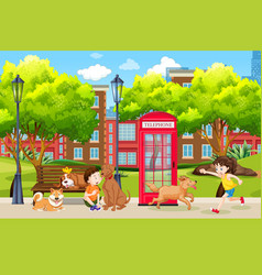 children and dog at the park vector image