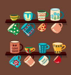 coffee mugs on shelves collection in vector image